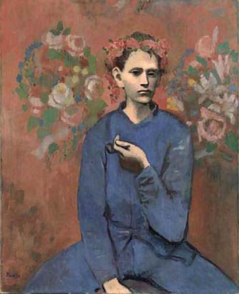 世界名画 毕加索 拿烟斗的男孩