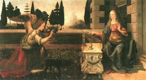 世界名画  达·芬奇《受胎告知》