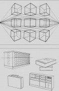 素描中的正六面体成角透视规律