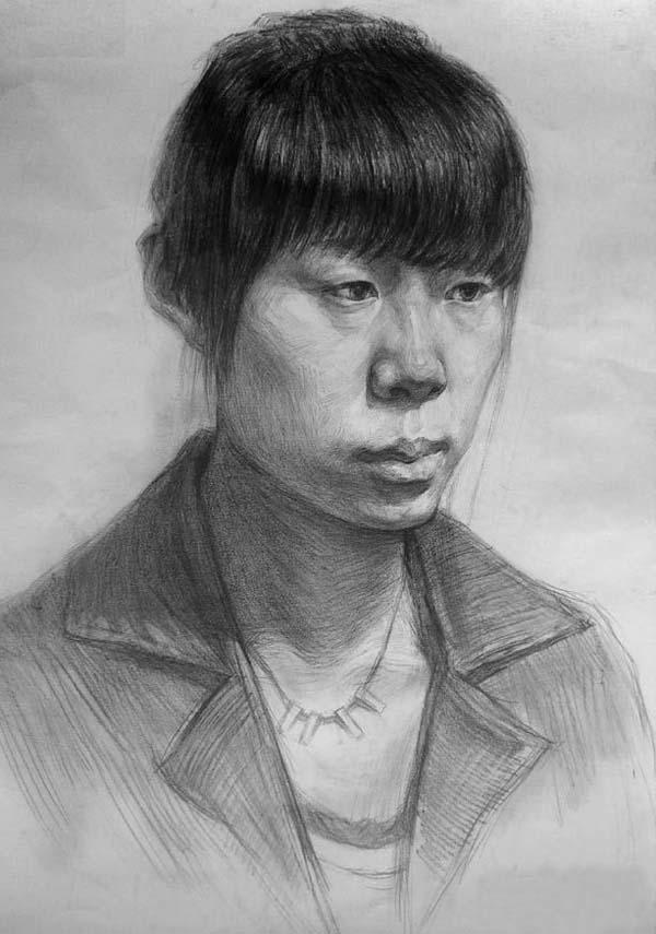 中国美术学院人物头像素描高分考卷