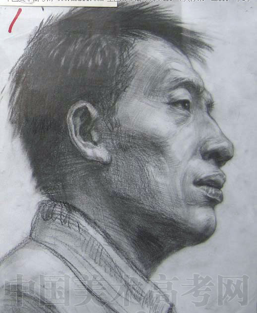 2005年天津美术学院高分头像素描作品