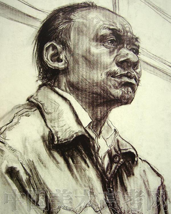 2008年鲁迅美术学院高分半身人物素描校考试卷